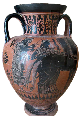Black-figure amphora. Santorini Prehistoric Museum Fira